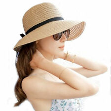 Hot Floppy Foldable Ladies Women Straw Beach Sun Summer Hat One Size Wide Brim