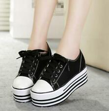 Womens Fashion Lace Up College Thick Sole Platform Muffin Sneakers Canvas Shoes