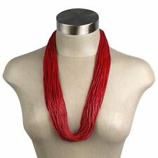 "Multi Strand Red Coral Tube Beads Necklace w/ Sterling Silver Clasp Ends 14"" New"