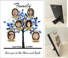 Personalised Family Tree -Hard Board Photo Block Wall Hanging Plaque Photo Frame