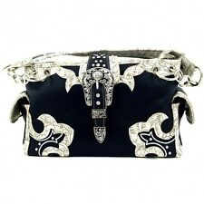 Rhinestone Buckle Cowgirl Concealed Carry Women's Leather Handbag