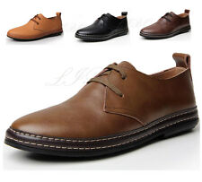 Men Business Leisure Soft Leather Lace Up Shoes Oxford Dress Formal Driving Flat