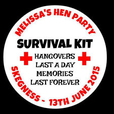 48 Personalised Round Hen Night do Party Stickers Labels Seals Survival Kit Bags