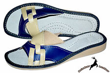 Ladies Womens Real Leather Blue Stylish Handmade Slippers Shoes Sandal Mule Soft