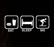 Eat sleep ski sport athlete birthday t shirt humor party funny crazy cool tee