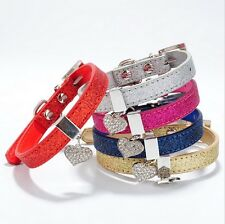 Lowest price! Pet Puppy Dog Cat Collar Lead With Heart Charm  Bling Sparkle