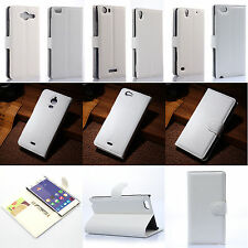 White Flip PU Leather Card Slot Folio Case Stand Cover Fashion ID Holder Wallet