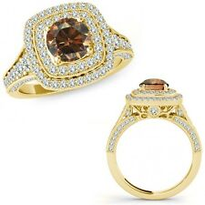 1.25 Ct Champagne Diamond Fancy Double Halo Cluster Wedding Ring 14K Yellow Gold