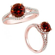 1 Carat Red Color Diamond Fancy Solitaire Promise Anniversary Ring 14K Rose Gold