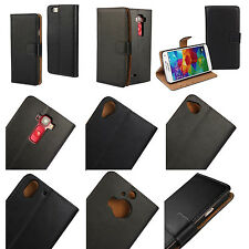 Genuine Real Leather Flip Handmade Wallet Case Protective Card Slot Cover Black