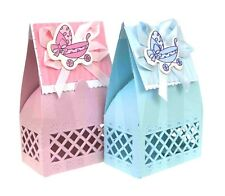 PINK BLUE CARTOON PRAM BABY SHOWER CHRISTENING PARTY FAVOUR BOXES GIFT BOX