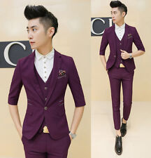 Mens Stylish Slim Fit 3/4 Sleeve Jacket Cropped Pants Vest Office Party Suit Set