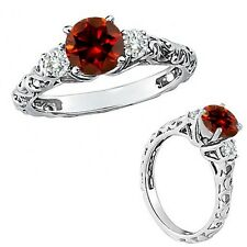 1 Carat Red Color Diamond Fancy Solitaire Promise Wedding Ring 14K White Gold