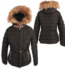 WOMEN QUILTED SHORT WINTER COAT FAUX FUR HOODED PADDED JACKET PARKA P1655