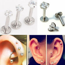 16G CZ Gem Round Tragus Lip Ring Monroe Ear Cartilage Stud Earring Bar Piercing