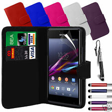 PU Leather Wallet Flip Case Cover & LCD Film & Stylus Pen For Sony Xperia E1