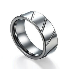 Diagonal Grooved Flat Men's Tungsten Ring Wedding Band Shiny Polished Size 6-12