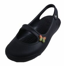 Crocs Gabby Girls Youth Black Mary Jane Slingback Comfort Flats Shoes