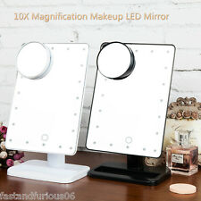 Ovonni 20 LEDs Lighted Cosmetic Makeup 1X/10X Magnification Table Vanity Mirror