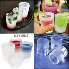 Silicone 4-Cup Shaped Ice Cube Shot Glass Freeze Mold Mould Maker Tray Bar Drink
