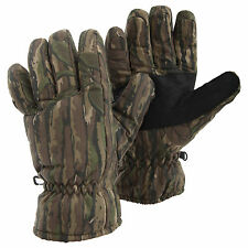 Mens Camo Thinsulate Thermal Insulation Padded Ski Gloves With Palm Grips
