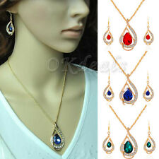 New Fashion Women's 18k Gold Plated Chain Crystal Necklace Earring Jewelry Set