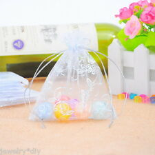 Wholesale 10x12cm Organza Gift Bags Jewelry Pouches Silvery Leaf Flower Pattern