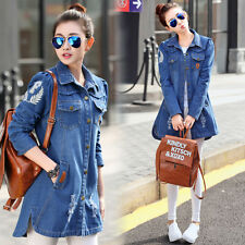 Spring Women Patch Holes Denim Trench Jeans Coat jacket parka Silm