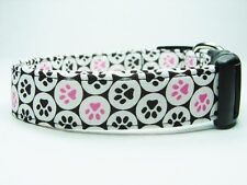 Charming Brown with Pink & Brown Puppy Dog Paws Dog Collar