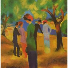 August Macke 1913 Lady In A Green Jacket New Art Poster New Reproduction 18x24