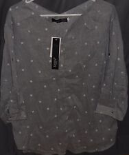 Ladies Zanzea Collection Gray ¾ Sleeve V-neck Shirt Top XXL NWT