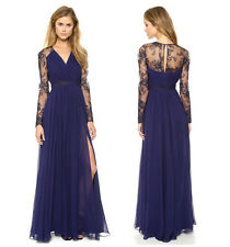 Sexy Semi Sheer Embroidery Floral Chiffon Long Maxi Party Cocktail Evening Dress