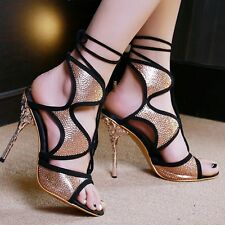 Gothic Womens Strappy High Heels Open Toe Sandals Vintage Pumps Shoes US Size