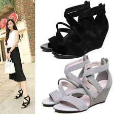 New Womens Roman Gladiator Wedge Sandals Strappy Leather Sandals Black Hot Size