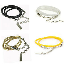 Women Ladies Girl Fashion Skinny Belt Metal Buckle Braided Faux Leather Chain