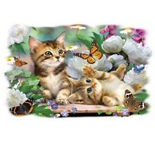 Playful Kittens Shirt, Two Cats Playing T Shirt, Butterflies & Flowers, womans