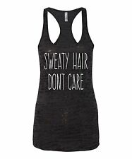 Burnout Tank Top Womens Shirt Gym T Sweaty Hair Racerback Funny S Muscle Workout