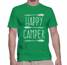 T Shirt Happy Camper Brown Funny Gear Camping All Summer XL Camp Outdoors Mens
