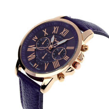 New Men Women Geneva Roman Numerals Faux Leather Band Analog Quartz Wrist Watch