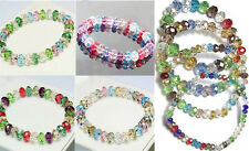 Woman Fashion Multicolor Crystal Faceted Stretch Bangle Bracelet Beads Loose