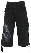 Spiral Direct NIGHTFALL, Vintage Cargo Shorts 3/4 Long Black RRP=36.99|Bat|Blood