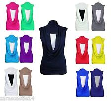 New Ladies Women's Gathered Sleeveless Contrast Cowl Neck Vest Top Size 8-22