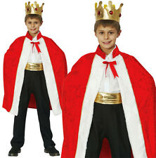 Childrens Kids Red Royal Robe King Fancy Dress Costume Outfit Cloak 3-10 Yrs