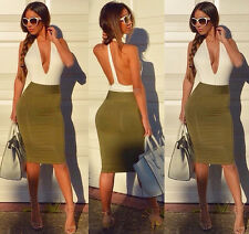 Women Sexy Deep V Neck Dress Backless Tight Mini Skirt Fashion Bodycon Clubwear