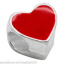 Wholesale Lots European Charm Beads Red Heart Silver Plated Fit Charm Bracelet