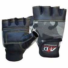 ARD™ Leather Weight Lifting Gloves Padded Strength Training Gym Green Camo