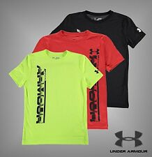 Junior Boys Branded Under Armour Sideline Heat Gear T Shirt Top Size Age 7-13