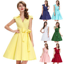 New 50s 60s Vintage Collection Charm 9 Color V-Neck Cocktail Party Picnic Dress