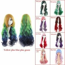 Heat Resistant Women Long Wavy Harajuku Style Cosplay Wig Full Wigs 66