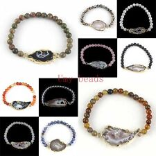 Gold Plated Natural Agate Druzy Geode Bracelet With Gemstone Round Beads Jewelry